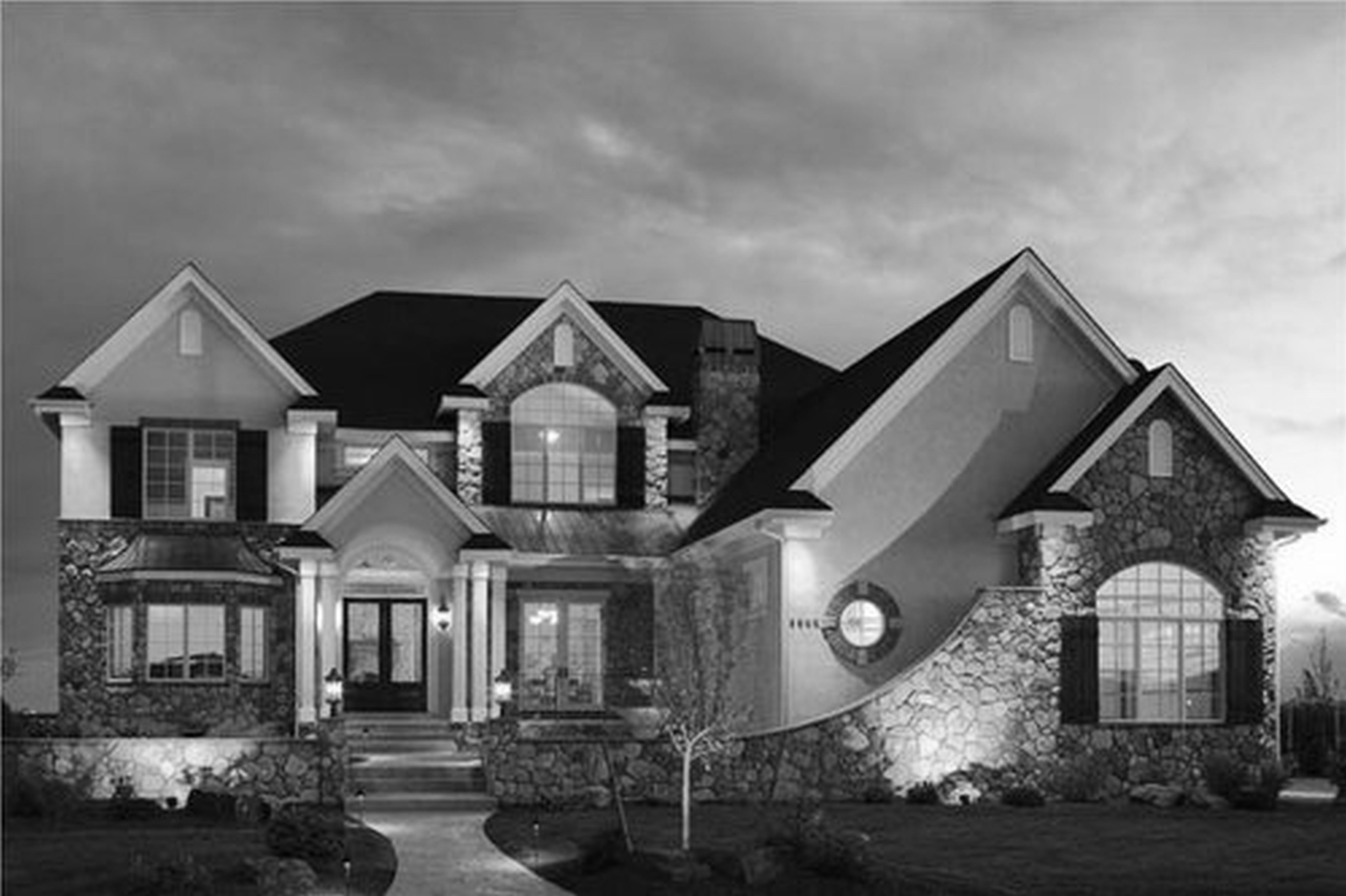 Luxury home plans designs large nice black white house for Rustic luxury house plans